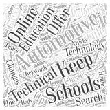 Automotive Technical Schools Keeping Up With the Times word cloud concept vector background Royalty Free Stock Images