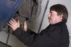 Automotive Technician Manually Pulls Rotor Checking Brakes Auto Stock Image