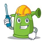 Automotive watering can character cartoon Stock Photography