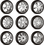 Automotive wheel. With alloy wheels and low profile tires stock illustration