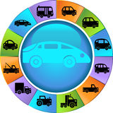 Automotive Wheel. Wheel with 12 different styles of vehicles Royalty Free Stock Image