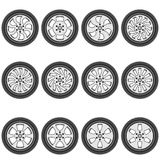 Automotive wheel with alloy wheels Royalty Free Stock Photography