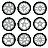 Automotive wheel with alloy wheels. Vector Stock Photos