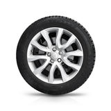Automotive wheel on gray light alloy disc isolated. On white background with soft shadow Royalty Free Stock Photo