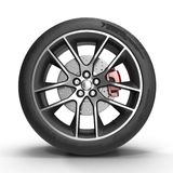 Automotive wheel on light alloy disc isolated. 3D illustration. Automotive wheel on light alloy disc isolated on white background. 3D illustration Royalty Free Stock Photography