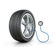 Automotive wheel with a pressure sensor Royalty Free Stock Photos
