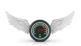 Automotive wheel with speedometer. And wings arranged on a white background Royalty Free Stock Images