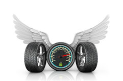 Automotive wheel with speedometer and wings. On a white background Royalty Free Stock Photography
