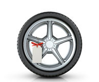 Automotive wheel with a tag Stock Image
