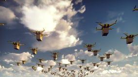 Autonom leverans av jordlotter av obemannade surrsom flyger på en solig dag stock video
