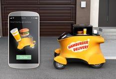 Autonom leveransrobot framme av den väntande på plockninghamburgaren för garage stock illustrationer