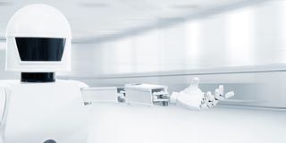 Autonom tjänste- robot framme av ett tomt rum royaltyfria foton