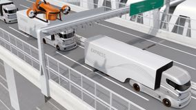 Autonoma elkraftlastbilar och VTOL surr som platooning på huvudvägen stock video