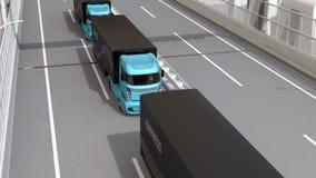 Autonoma elkraftlastbilar och VTOL surr som platooning på huvudvägen arkivfilmer