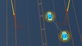 Autonome运输系统概念,聪明的城市,事互联网,对车的车,对基础设施的车 库存例证