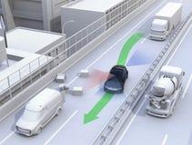 Autonome auto veranderende steeg snel om een verkeersongeval te vermijden vector illustratie