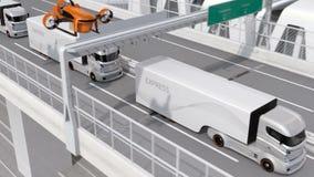 Autonome elektrische vrachtwagens en VTOL hommels die op weg platooning stock video