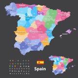 Autonome Gemeinschaften und Provinzen vector Karte von Spanien Navigations-, Standort- und Reiseikonen stock abbildung