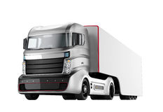 Autonome hybride die vrachtwagen op witte achtergrond wordt geïsoleerd Royalty-vrije Stock Afbeeldingen