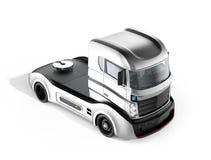 Autonome hybride vrachtwagen op witte achtergrond Stock Afbeeldingen