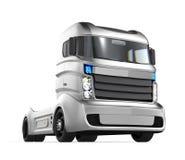 Autonome hybride vrachtwagen op witte achtergrond Stock Fotografie