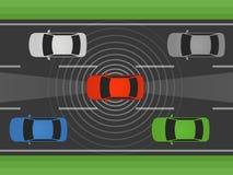 Autonomer Selbst, der Auto, Fahrzeug oder Automobil mit lidar und flacher Illustration des Radars fährt Lizenzfreie Stockfotografie