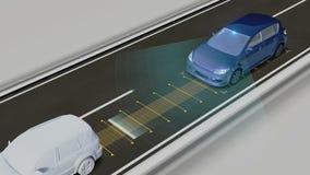 Autonomes Fahrzeug, halten den Autoabstand, automatische treibende Technologie Unbemanntes Auto, IOT schließen Auto an stock abbildung