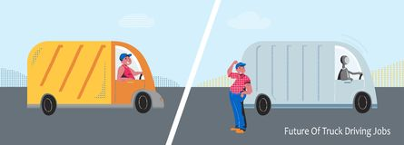 Autonomiczna ciężarówka vs kierowcy ciężarówkiego wektoru pojęcie zdjęcie royalty free