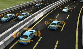 Autonomiczni samochody na drodze, 3d rendering royalty ilustracja