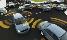 Autonomiczni samochody na drodze z widocznym związkiem ilustracja wektor
