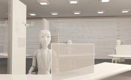 Autonomiczni sztucznej inteligencji roboty na krześle w biurze 3d-illustration ilustracja wektor