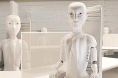 Autonomiczni sztucznej inteligencji roboty na krześle w biurze 3d-illustration ilustracji