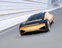 Autonomiczny elektrycznego samochodu chodzenia post na autostradzie ilustracji