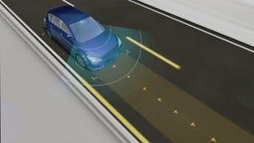 Autonomiczny pojazd, Automatyczna napędowa technologia Bezpilotowy samochód, IOT łączy samochód royalty ilustracja