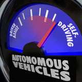 Autonomicznych pojazdów jaźni samochodów Napędowy wymiernik ilustracja wektor