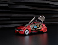 Autonomous car on abstract background. Left doors opened and front seats turned to rear side. Laptop on the table. 3D rendering image stock illustration