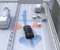 Autonomous car changing lane quickly to avoid a traffic accident Stock Images