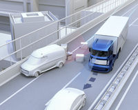 Autonomous car changing lane quickly to avoid a traffic accident Royalty Free Stock Image