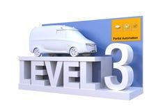 Autonomous car classification of level 3. 3D rendering image vector illustration