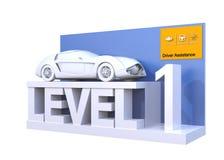 Autonomous car classification of level 1. 3D rendering image vector illustration