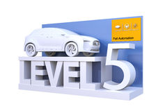 Autonomous car classification of level 5. 3D rendering image vector illustration