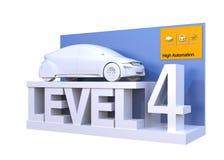 Autonomous car classification of level 4. 3D rendering image vector illustration