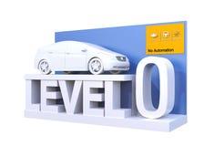Autonomous car classification of level 0. 3D rendering image vector illustration
