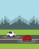 Autonomous car design. Autonomous cars vehicles over street and city background. ecology, smart and techonology concept. vector illustration vector illustration