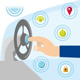 Autonomous car design. Hand and steering wheel with technology related icons over white and blue background colorful design vector illustration stock illustration