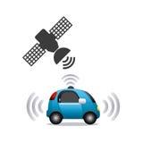 Autonomous car design. Autonomous car and satellite icon over white background. colorful design. illustration stock illustration