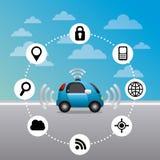 Autonomous car design. Autonomous car vehicle with navigation icons around. ecology, smart and techonology concept. colorful design. vector illustration vector illustration
