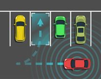 Autonomous car parking top view. Self driving vehicle with radar sensing system. Driverless automobile parking. Vector illustration Royalty Free Stock Photography
