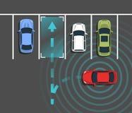 Autonomous car parking top view. Self driving vehicle with radar sensing system. Driverless automobile parking. Vector illustration Stock Images
