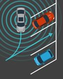 Autonomous car parking top view. Self driving vehicle with radar sensing system. Driverless automobile parking. Vector illustration Royalty Free Stock Image